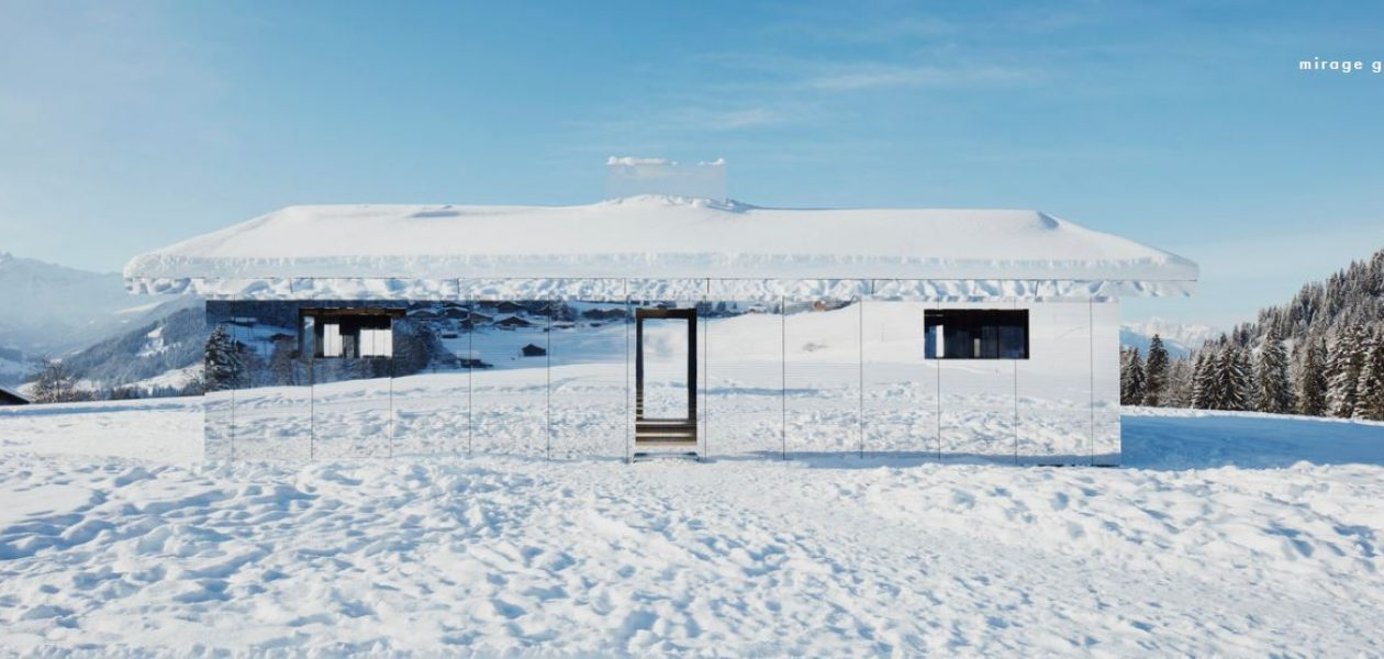 Lustrzany dom pośród szwajcarskich gór