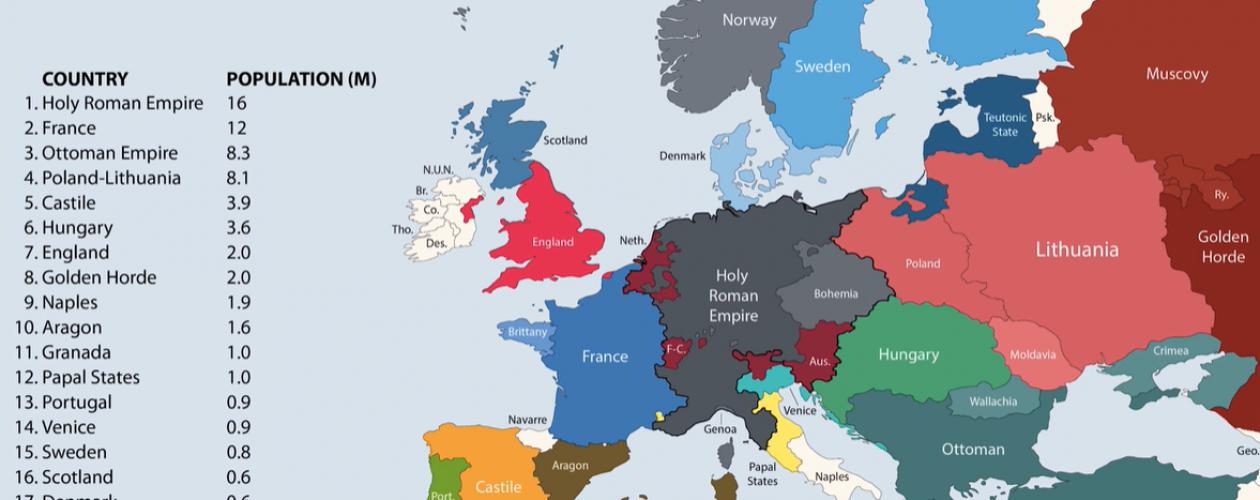 Historia Europy: ludność i granice narodów w różnych latach od 400 r.p.n.e.