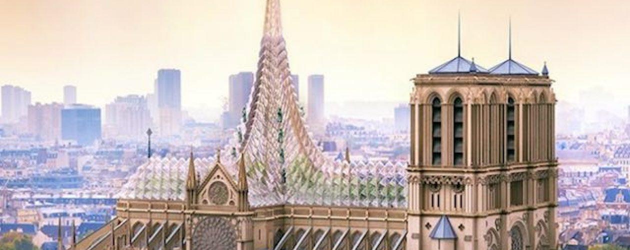 Ekologiczny projekt dachu katedry Notre Dame zasilany energią słoneczną.