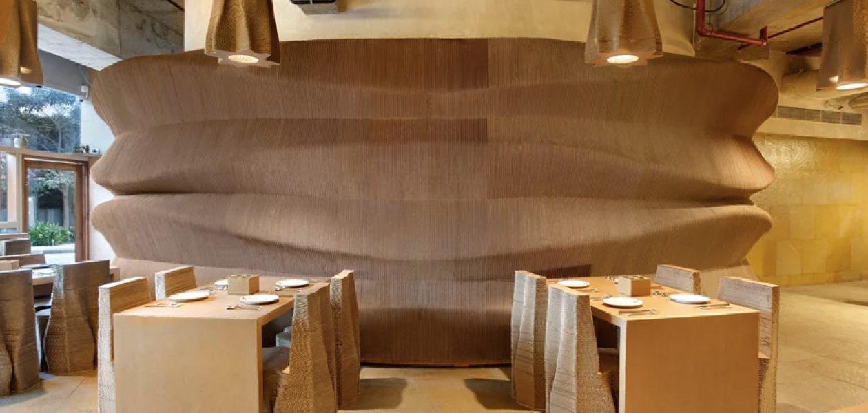 Kawiarnia wykonana z… kartonu, czyli architektura przyjazna środowisku.